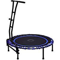 Preisvergleich für Indoor Outdoor Mini Fitness Trampolin 110 cm Ø mit 6 Standbeinen und Haltegriff höhenverstellbar Stabile Ausführung bis 120 kg belastbar