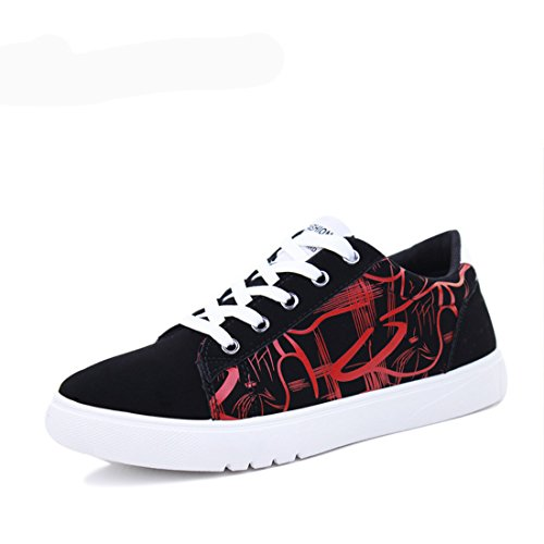 Men's Zapatillas Lace Up Flat Breathable Canvas Shoes Black Red