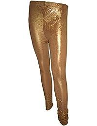 Bottoms More Women's Metallic Lycra Dark Golden Shimmer Leggings