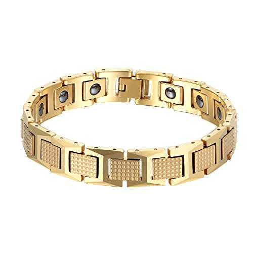 Herren Wolframcarbid Armband, Gold 12MM Breit Biker Glieder Link Handgelenk Poliert Magnetarmband Armbänder für Männer