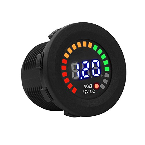 Keenso 12 V digitale LED-Panel Spannung Anzeige Wasserdicht Voltmeter