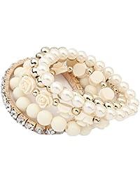 VANKER Pulsera de múltiples capas del encanto de la perla de imitación del brazalete elástico de la flor