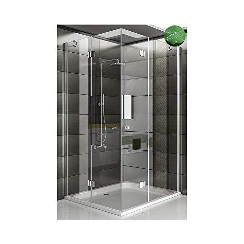 duschwand ecke Duschkabine Eckeinstieg Dusche inkl. Nano Duschwand Duschabtrennung Wannenmaß 120x90x195 Ecke Dusche