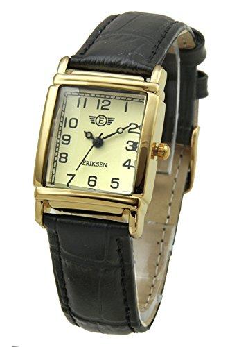 Damen Kleid Armbanduhr Rechteck schwarz Leder Gurt lg-blk