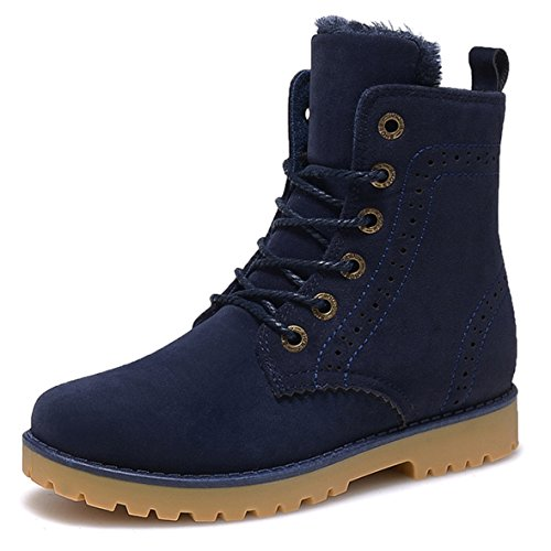 Gaatpot Damen Schnür Stiefeletten Warm gefütterte Combat Boots Leder Winter Stiefel Schuhe Blau 39 EU / 39 CN