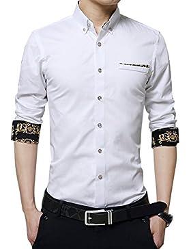 Uomo Slim Fit Camicie con Stampa / Camicia Contrasto Maniche Lunghe Con Botton Moda Taglia M/L/XL/XXL/3XL Bianca