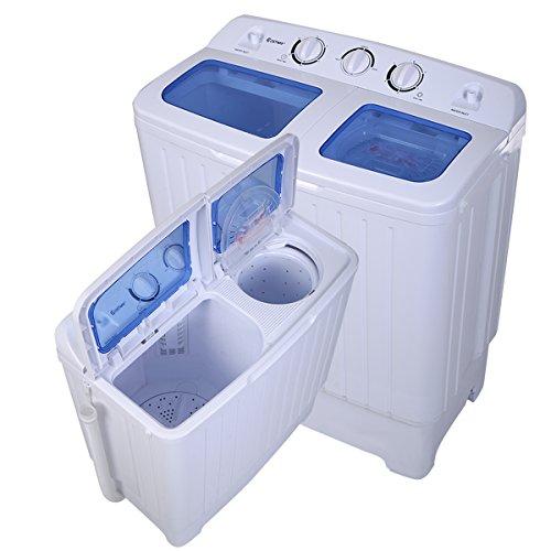 COSTWAY Mini Waschmaschine Waschautomat mit Schleuder Toplader(4,2kg Waschkapazität/300Watt Waschleistung/3kg Schleuderkapazität/110Watt Schleuderleistung) weiß