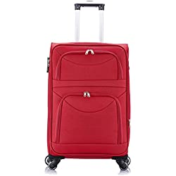 EUGAD RK4214rt-L Reise Koffer Trolley 1200D Oxford Weichschale, Reisekoffer Stoff 4 Rollen, Weichgepäck Reisegepäck Handgepäck M/L / XL/Set, leicht & günstig, Rot (L, 65 cm & 70 Liter)