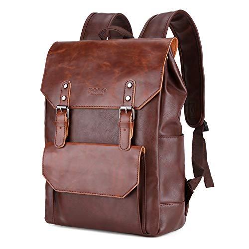 S&S - Mochila de Piel sintética para Hombre y Mujer, Color marrón Bolsa de Calidad para portátil de hasta 15 Pulgadas. Ideal para la Escuela, Negocios, Trabajo o Viajes y Compras.