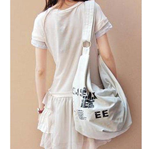 Dairyshop Borsa del messaggero della borsa della spalla del sacchetto di spalla della traversa della tela di canapa delle donne di modo (Bianco) Bianco