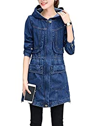 7ece3101d312ff BOLAWOO Kapuzenmantel Damen Elegante Festliche Vintage Jeansmantel Frühling  Mode Marken Langarm Jacke Herbst Mit Taschen…