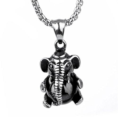 Gudeke Hombres elefantes Mantenga cuentas de acero inoxidable colgantes de los collares...