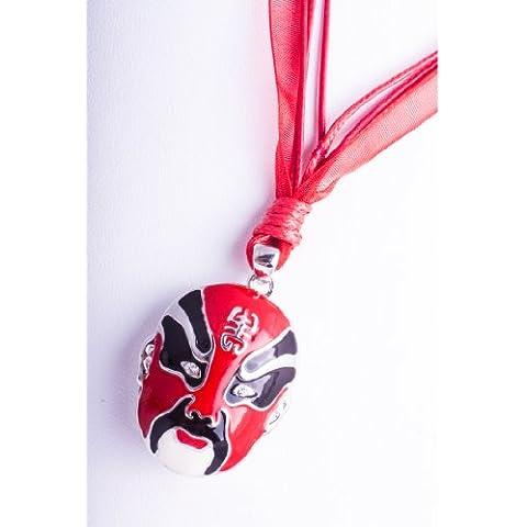 Colgante de oro plata aleación Pekín ópera Máscara Rojo Cadena Esmalte cristales