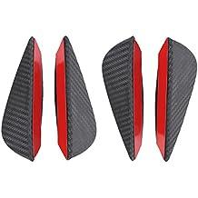 Qiilu 4Pcs ABS Universal Fibra de Carbono Parachoques Delantero Parachoques Lip Spoiler Canards Trim Kit