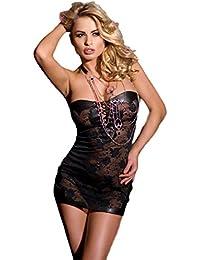 Saphira mode. Minikleid aus schwarzer Spitze. Bare zurück. Nackte Schultern. Schnürsystem entre les Brüste und in den Rücken. Teddy. Body