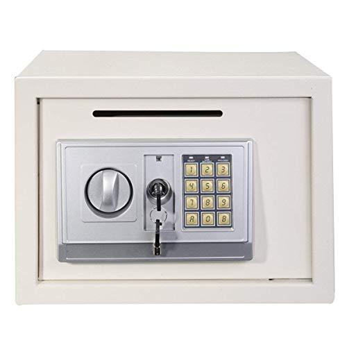 Caja de Seguridad electrónica Digital de Seguridad para el hogar y la Oficina, 16 L, para almacenar Objetos pequeños valiosos, Caja de Seguridad Blanca con Llave