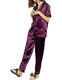 69b6f5328de89c Rojeam Frauen Sommer Silk Satin Pyjamas Kurzarm Nachtwäsche 2 Stück Pyjama  Set Loungewear