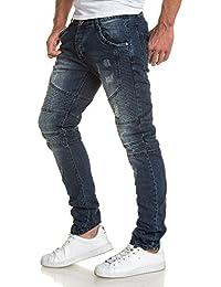 BLZ jeans - Jeans homme bleu délavé usé et nervures fashion
