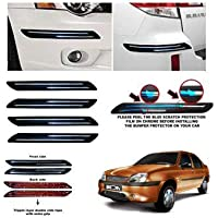 CSC CRAFT Rubber Car Bumper Protector Guard with Double Chrome Strip for Car 4Pcs - Black (for Ford IKON)