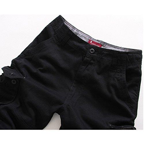 Menschwear Herren Vintage Cargo Shorts Bermuda Kurze Hose Sommer Kurze Hose Schwarz