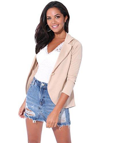 KRISP 3558-STN-14: Smart Casual Stoff Fashion Blazer (Sandstein, Gr.42)