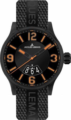 Jacques Lemans - 1-1729G - Montre Mixte - Quartz Analogique - Bracelet Caoutchouc Noir