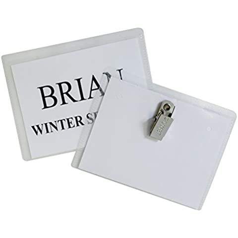 Badge Holder Kits, Top Load, 3 x 4, White, Clip Style, 96/Box