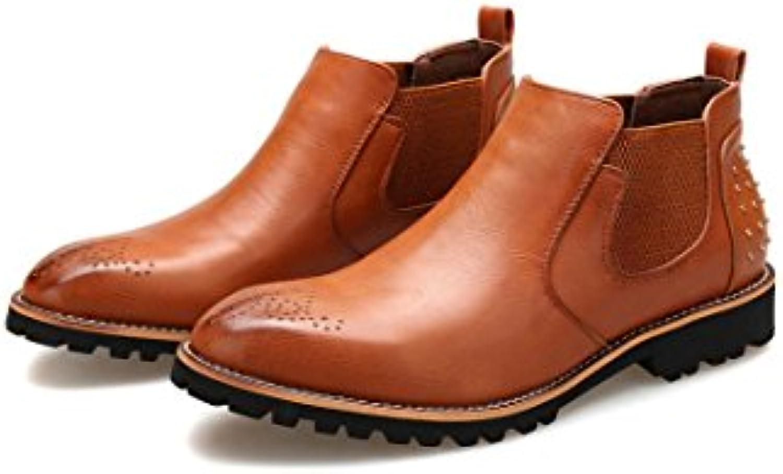 Hi-Top Botas De Cuero para Hombres De Negocios Zapatos De Negocios Primavera Otoño Invierno Marrón Negro Zapatos...