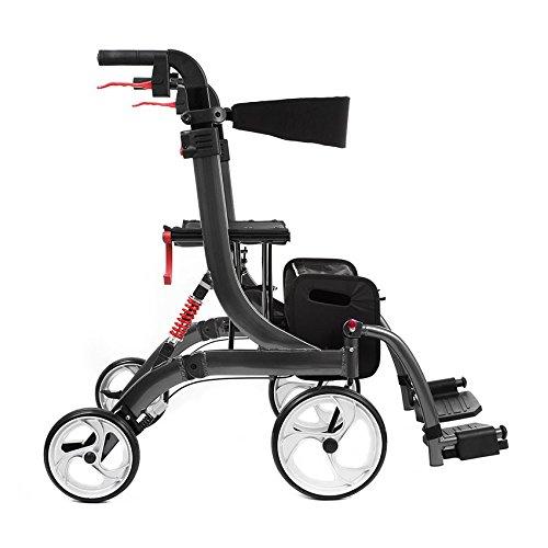Besco Medical - Spring VARIO - Leichtgewicht-Rollator - in 2 Größen und 2 Farben, mit Federung, Faltbar ( Sitzhöhe 60 cm Bordeauxrot )