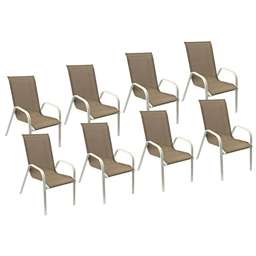 Happy Garden Lot de 8 chaises Marbella en textilène Taupe - Aluminium Blanc