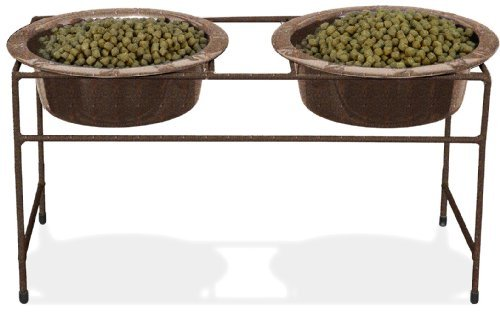 Modern Double VeDiner with Two Wide Rimmed Bowls Color: Copper, Capacity: 64 oz. by Platinum Pets - Rimmed Bowl