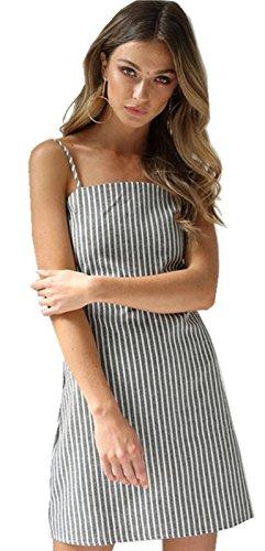 Sexy Ohne Arm ärmelloser Spaghettiträger Bindung Bow Bindung Schnürung Hinten Zurück Gestreiftes Gestreift Minikleid Skaterkleid A Linien A Linie Ausgestellte Dress Kleid Grau Weiß Grau Weiß