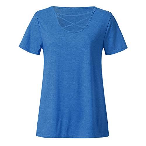 Hahuha  Woman Tops , Women Short Sleeve Knot Shirts Front Cross Tunic Loose Blouse Tops