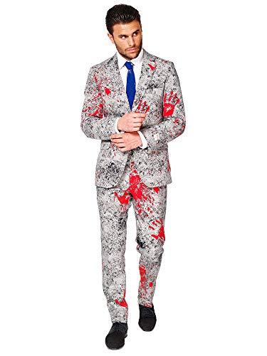 OppoSuits - Zombiac - Hombres Halloween Trajes con Divertidos Colores y Estampados - Traje Completo: Chaqueta, Pantalones y Corbata