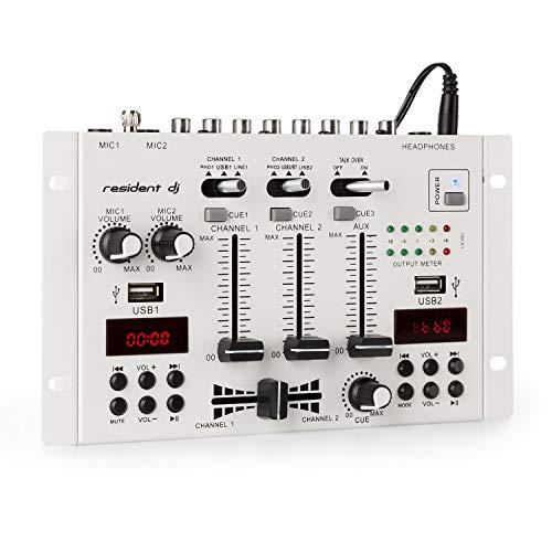 Resident DJ 22BT 2CH • Mixer per DJ 2/3 Canali • 2x USB • 3x Jack da 6,3 • Bluetooth • Frequenza 20Hz-20kHz ± 2 dB • Impendenza 160 ohm • 2 Display • Telaio Metallico • Cavo da 1,5m • Bianco