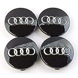 Set van 4 stuks naafdoppen zwart wieldoppen 60 mm diameter voor Audi velgen Wheel Centre hub caps naafdoppen wielnaafdop set ø 6 cm