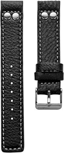 Oozoo Armband Uhrenband Uhrenarmband Leder Lederband mit Dornschließe Schwarz/Niete - 20 mm