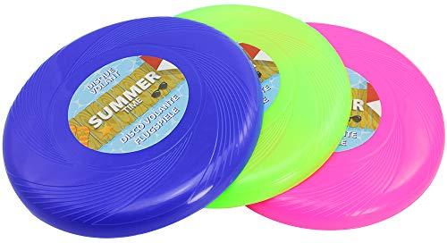 com-four® 3X Frisbee für Kinder und Erwachsene - Wurfscheibe auch für Hunde - Frisbeescheibe zum Spielen - Flugscheibe in bunten Farben (03 Stück - pink/grün/blau)