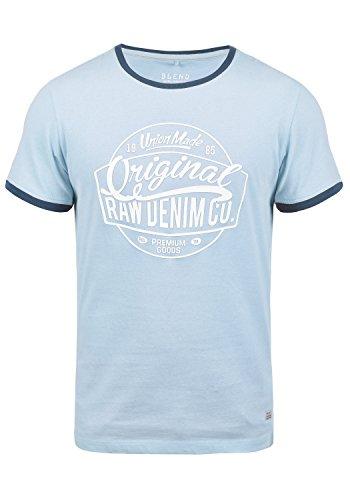 Blend Malex Herren T-Shirt Kurzarm mit Rundhalsausschnitt aus 100% Baumwolle, Größe:S, Farbe:Soft Blue (74641) (Soft Tee V-neck)