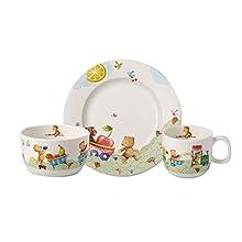 Villeroy & Boch 14-8665-8428 Hungry as a Bear Children's Table Set, 3-Pieces, Premium Porcelain, White/Coloured