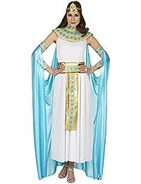 Costume Cléopâtre pour dame robe avec cape ceinture col diadème blanc doré