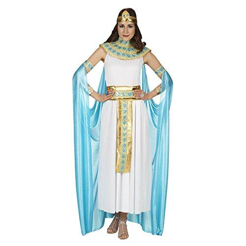Damen Kostüm Weiß Gold Türkis Kleid mit Cape Gürtel Kragen Stirnband - 44/46 (Cleopatra Kleider)