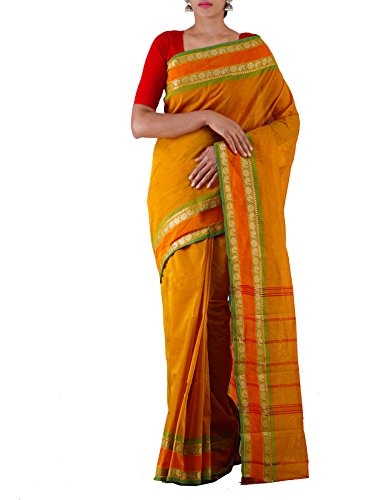 Unnati Silks Women Yellow Pure Handloom Kanchi Cotton Plain Saree(UNM22321)