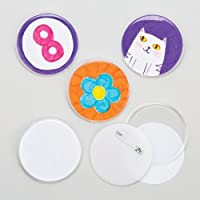 Baker Ross Design Your Own Badge (Pack Of 10) For Kids To Decorate and Kids Party Bag Fillers