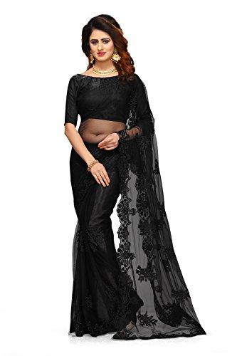 I-Brand Women\'s Net Saree With Blouse Peice (ISUNS2698-Black_Black_Free Size)