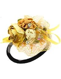 Anuradha Art Yellow Colour Classy Designer Hair Accessories Hair Band Stylish Rubber Band For Women/Girls
