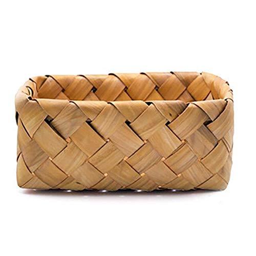 Cesta de almacenamiento para joyas de pan, frutas y verduras, organizador portátil, de madera trenzada...