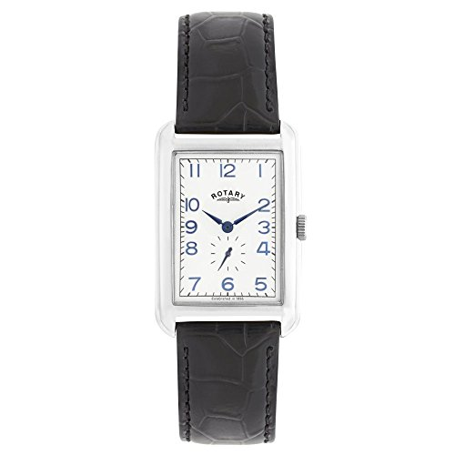 Rotary Men's Quartz Watch with White Dial Analogue Display and Black Leather Strap GS02697/21