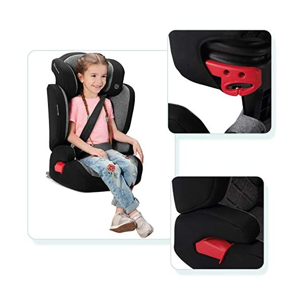 Kinderkraft Car Seat XPAND Child's Booster Seat with System ISOFIX Adjustable Headrest Side Protection Group II/III (15-36kg) to 12 Years Crashtested Safety Certificate Intertek and ECE R44/04 Gray kk KinderKraft Car Seat - The Xpand car seat ensures safety during every journey. Secure - Equipped with fixing system ISOFIX, which guarantees a stable and safe position for your child. Alternatively, secure with car seat belts. Comfort - The wide, deep seat provides comfort even during long hours of travel and the headrest adjustment allows parents to adjust the seat to each child. 5