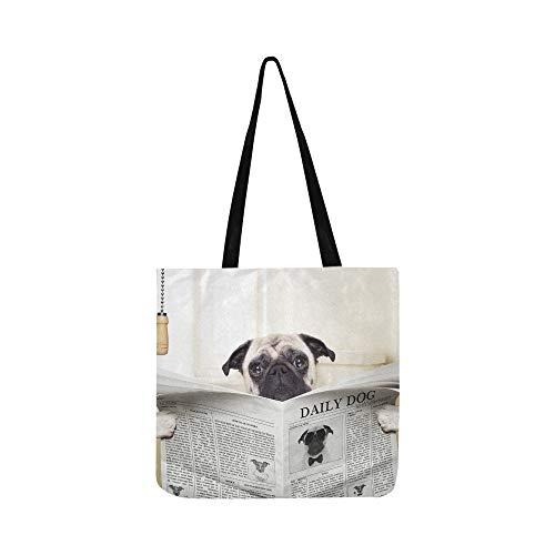 Hund lesen Zeitung oder Zeitschrift Leinwand Tote Handtasche Schultertasche Crossbody Taschen Geldbörsen für Männer und Frauen Einkaufstasche -